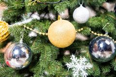 Baubles of golden and silver color, snowflake, garland Stock Photography