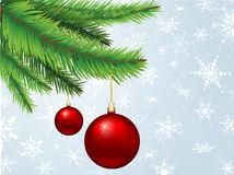 Baubles hanging on Christmas tree Royalty Free Stock Photos