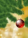 Baubles hanging on a christmas tree. EPS 8 Stock Photos