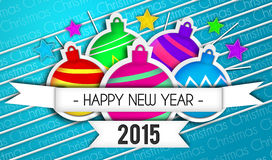 Baubles Happy New Year Art Paper 2015 Blue Background. Digital art Royalty Free Stock Image