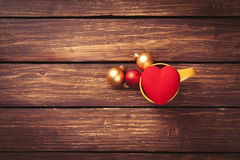 Baubles and heart shape toy Stock Image