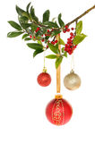 Baubles and holly Royalty Free Stock Image