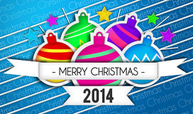 Baubles Merry Christmas Art Paper 2014 Blue Background. Digital art Royalty Free Stock Photo