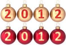 Baubles novos de 2012 anos das esferas do Natal ajustados Foto de Stock Royalty Free
