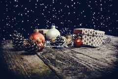 Baubles, Pine Cones And Boxes Royalty Free Stock Photography