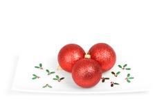 baubles plate red Royaltyfria Foton