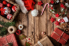 Baubles, presents, candy with christmas ornaments royalty free stock photos