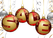 Baubles and Ribbons Christmas Sale Balls. Stock Photo