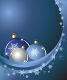 Baubles and snow. Christmas baubles on abstract background with snowflakes. Space for your text Stock Image