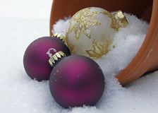 Baubles In The Snow Stock Photos