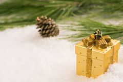 Baubles in the snow. Royalty Free Stock Photos