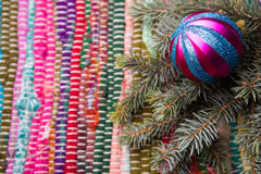 Baubles and spruce Christmas lights background Royalty Free Stock Images