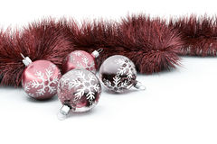Baubles and tinsel Stock Photo