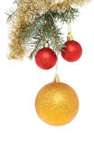 Baubles in tree with tinsel Stock Images