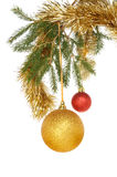 Baubles in tree Royalty Free Stock Images