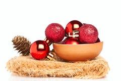 Baubles vermelhos com cone Imagem de Stock