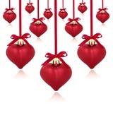 Baubles vermelhos do coração Fotos de Stock