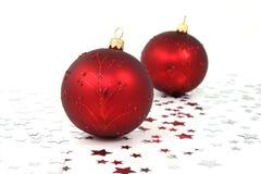 Baubles vermelhos do Natal Foto de Stock Royalty Free