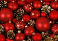 Baubles vermelhos do Natal Fotografia de Stock