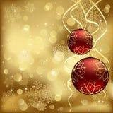 Baubles vermelhos do Natal com luzes obscuras Fotografia de Stock Royalty Free