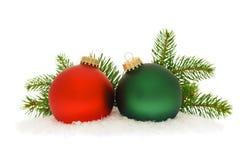 Baubles vermelhos e verdes do Natal Imagem de Stock