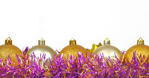 Baubles on a white background with space for text Royalty Free Stock Photography