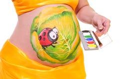 Bauch der schwangeren Frau Stockbild