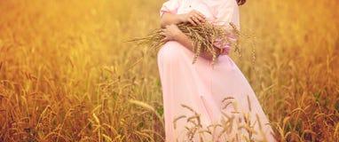 Bauch einer schwangeren Frau Stockfotografie