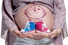 Bauch mit Zeichnung Stockfotografie