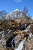 Bauchaille Etive Mor (The Great Herdsman of Etive). Is the dominant pyramid shaped mountain at the head of Glen Etive Royalty Free Stock Photos