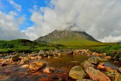 Bauchaille Etive Mor (The Great Herdsman of Etive). Is the dominant pyramid shaped mountain at the head of Glen Etive Royalty Free Stock Image
