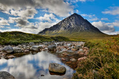 Bauchaille Etive Mor (The Great Herdsman of Etive). Is the dominant pyramid shaped mountain at the head of Glen Etive Stock Photography