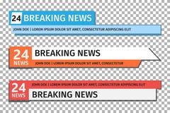 Bauchbindeschablone Stellen Sie von der Fernsehnachrichtenstange ein Nachrichten-Fahne für TV-Streaming vektor abbildung