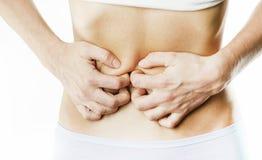 Bauchschmerzen, Berühren, lokalisiert auf weißem Hintergrund stockfotografie