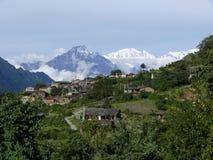 Baudha Himal e Himal Chuli de Chhokang Paro Fotografía de archivo libre de regalías