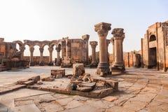 Bauen Sie Abschnitt der Ruinen von Zvartnots-Kathedrale um Stockbild