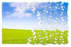 Bauen Sie Ihre Ruhe - Konzeptbild in der Puzzlespielform auf lizenzfreie stockbilder
