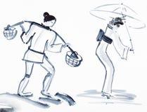 Bauer mit Joch und japanischer Frau mit Regenschirm Stockfotos