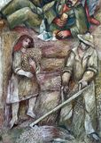 Bauern im Erntefresko durch Sieger Koder auf der Wand des Pilgerfahrthauses von St James in Hohenberg, Deutschland stockfotos