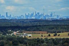 Bauernhöfe ziehen Städte Toronto im Hintergrund ein stockfoto