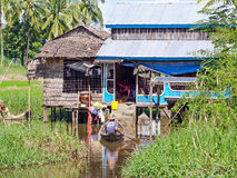 Bauernhaus in Maubin, Myanmar Stockbild