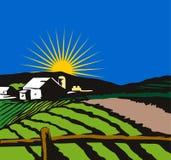 Bauernhaus mit der Sonne Rückseite innen Lizenzfreies Stockbild