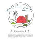 Bauernhausfahne für Agrarprodukte annoncieren flache Linie Kunstvektor vektor abbildung