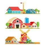 Bauernhof-Dorf-ländliche Gebäude-Baum-Konzept-Vektor-Illustration vektor abbildung