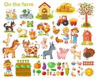Bauernhof eingestellt mit Tieren stock abbildung