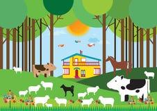 Bauernhof im Wald stock abbildung