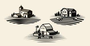 Bauernhof, Kennsatzfamilie bewirtschaftend Landwirtschaft, Agrargeschäft, Bauernhausikone oder Logo Auch im corel abgehobenen Bet lizenzfreie abbildung