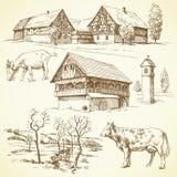 Bauernhof, ländliche Landschaft, Landwirtschaft Stockfotos