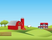 Bauernhof mit Rolling Hills Stockfotos