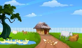 Bauernhof mit Tieren Lizenzfreie Abbildung